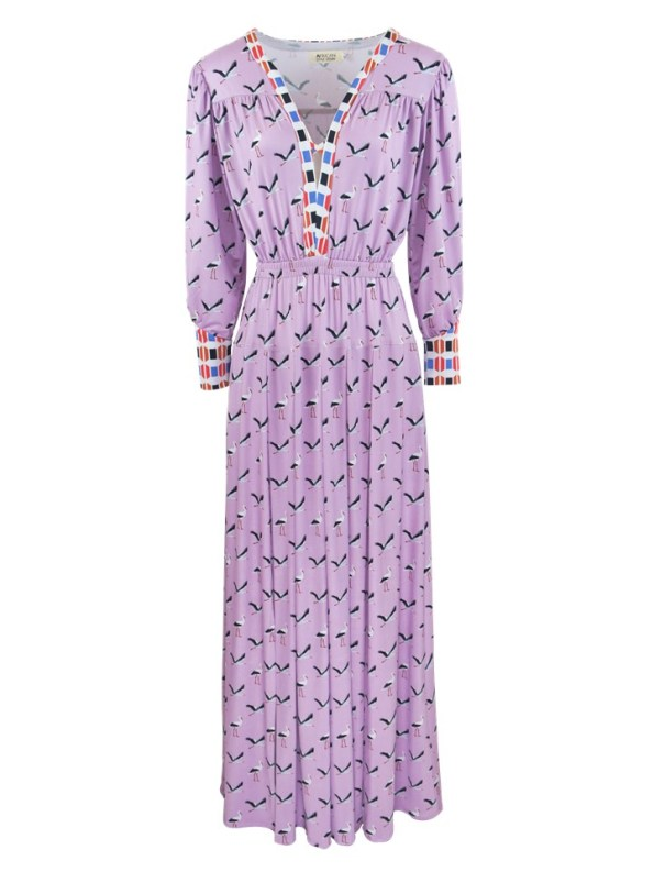 African Style Story Comporta Dress Pink Storks