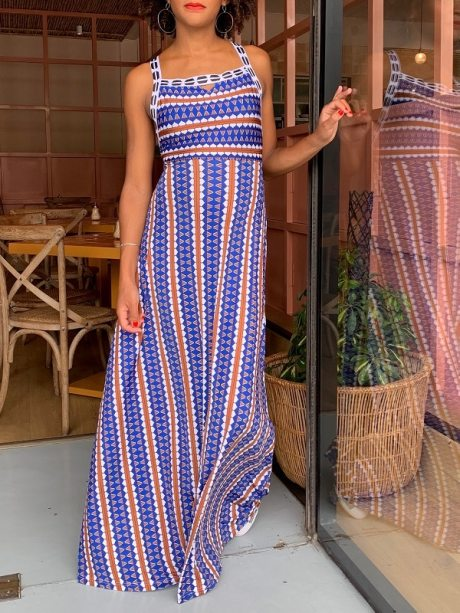 Maxi Dress dress with blue and orange print