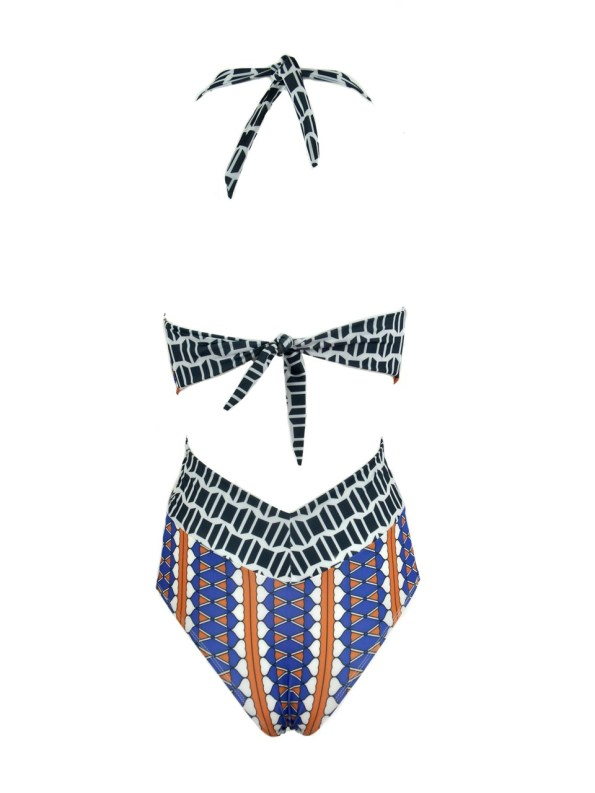 African Style Story Gisele Swimsuit Hearts with Navy Doors Back