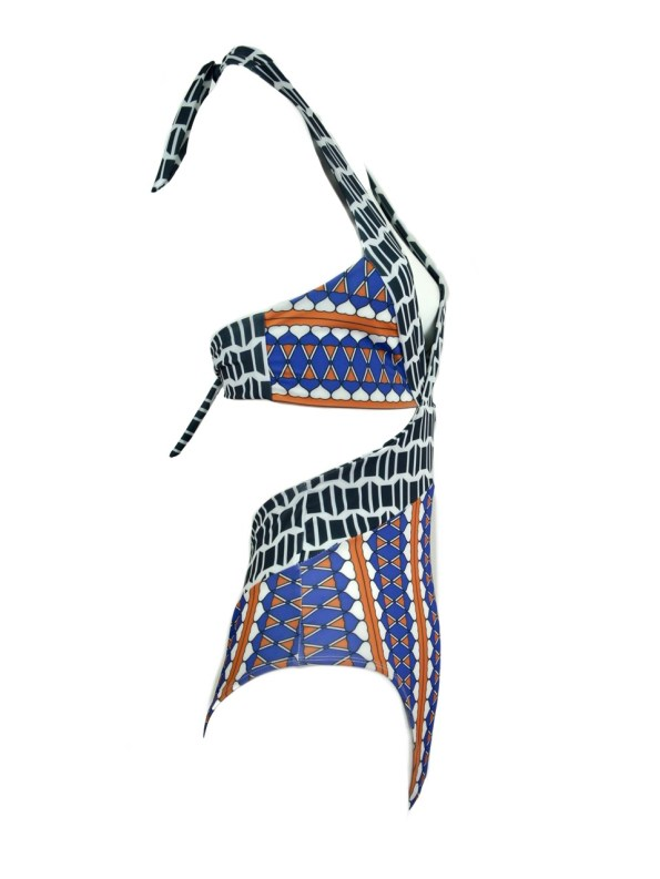 African Style Story Gisele Swimsuit Hearts with Navy Doors Side