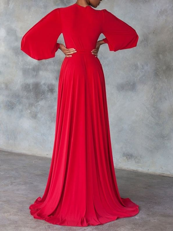 Erre Dancing Lady Maxi Wrap Dress Red Back