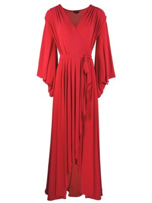 Erre Dancing Lady Maxi Wrap Dress Red