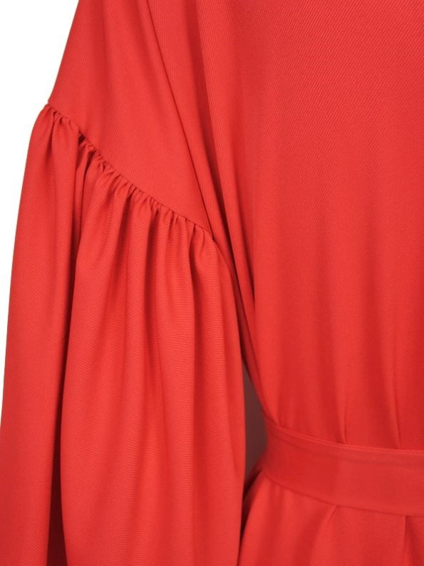 Erre Gather Coat Coverup Fire Red Sleeve