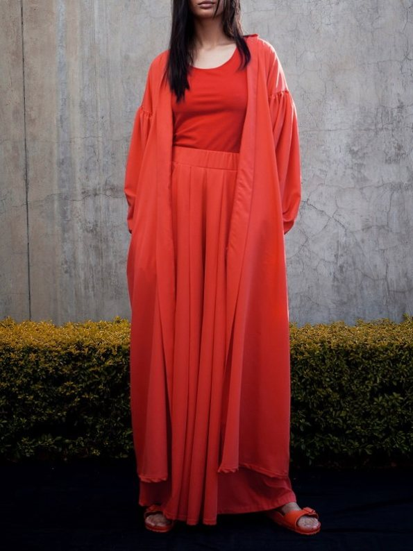Erre Gather Kimono with Stride Wide Leg Pants and Racerback Vest Fire Red