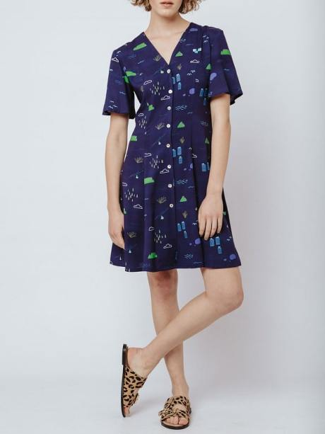 Navy dress with Cape Town Table Mountain Print