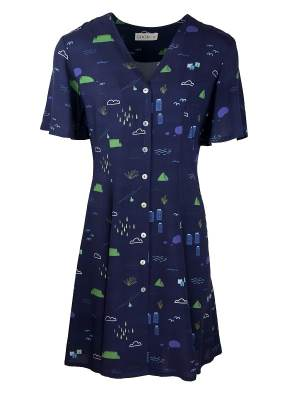 Good Clothing Navy Dress With Cape Town Print