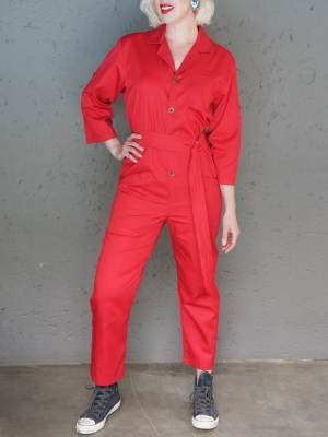 JMVB Menton Boiler Suit Red Front Sleeves Long