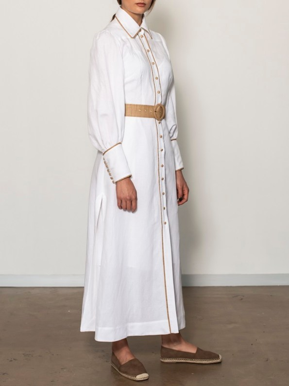 Smudj Aaron Maxi Dress White Linen Side