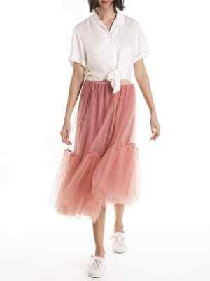 Smudj Christian Skirt Rose Modeled Front