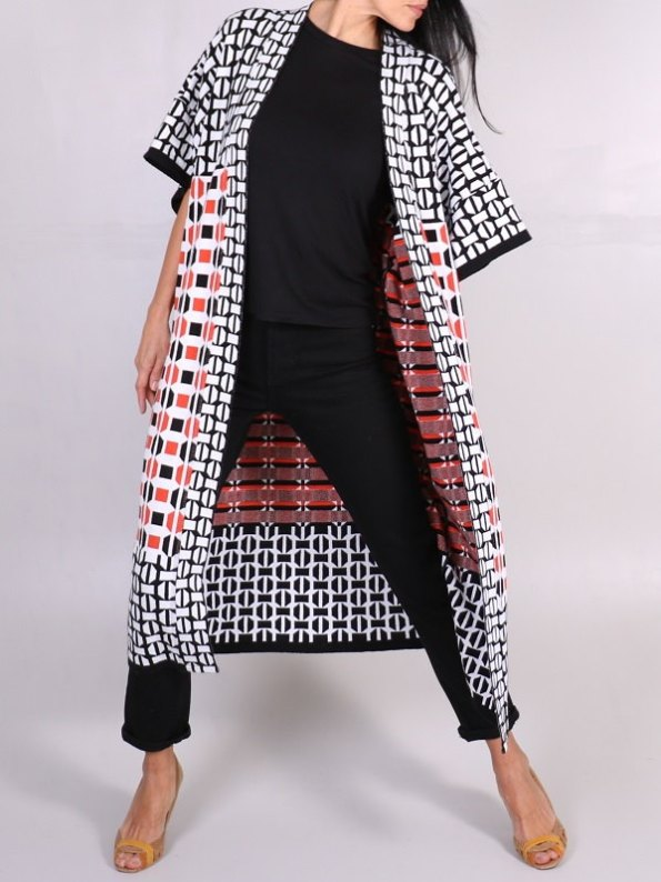 African Style Story Romaria Knitted Kimono Terracotta Lean