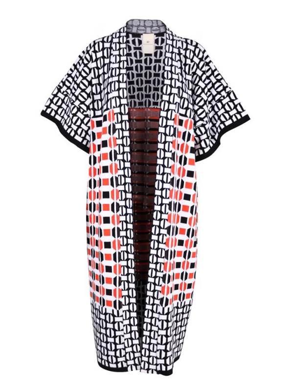 African Style Story Romaria Knitted Kimono Terracotta