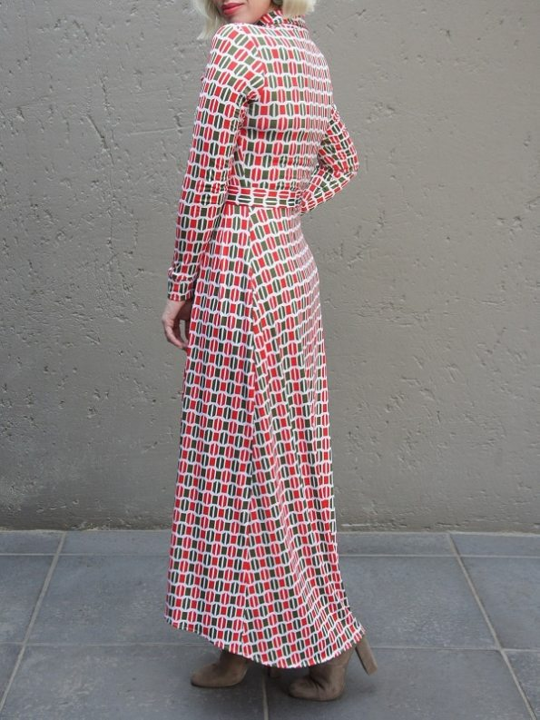 African Style Story Shirt Dress, Green and Red Doors Back