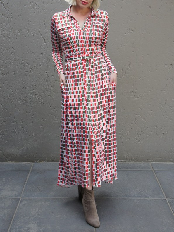 African Style Story Shirt Dress, Green and Red Doors Front