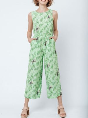 Good Clothing Toucan Jumpsuit Green Toucans Front