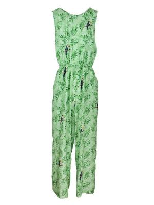 Green jumpsuit with toucan print