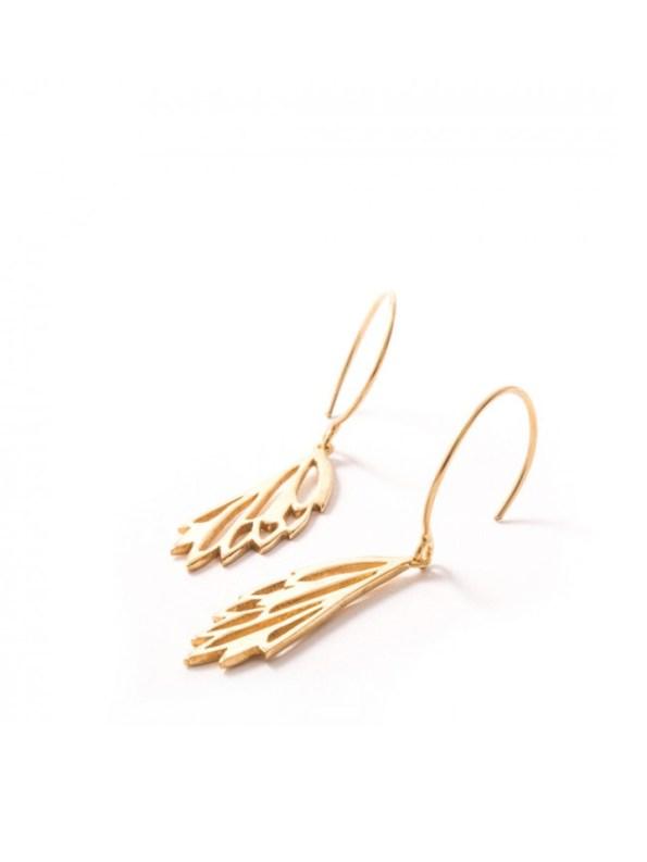 Kirsten Goss Mini Fragma Earrings Gold Side