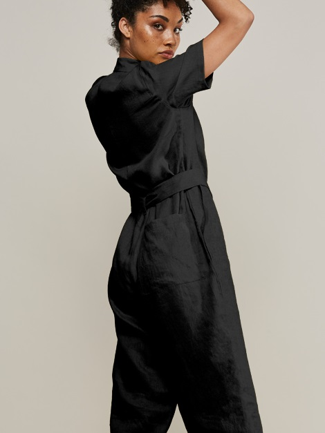 Mareth Colleen Boilersuit Black Cropped