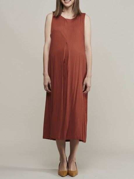 Mareth Colleen Camille4Mom Dress Rust Front