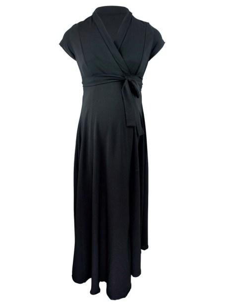 Black maternity wrap dress