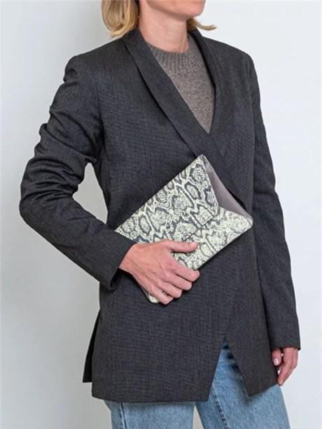 House of Cinnamon Jan Clutch Bag Grey & Lime Model Holding
