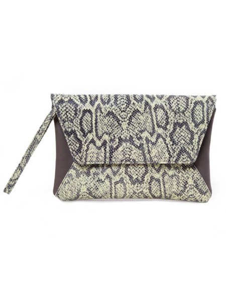 House of Cinnamon Jan Clutch Bag Grey & Lime