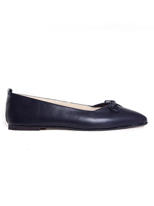 House of Cinnamon Monica Pointed Flat Navy Side