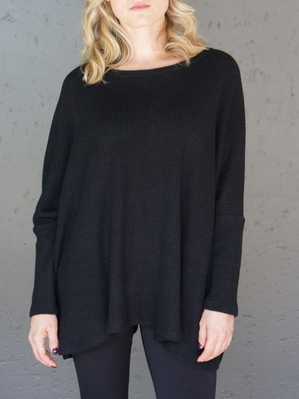 JMVB Goodall Boxy Knit Sweater Black Cropped
