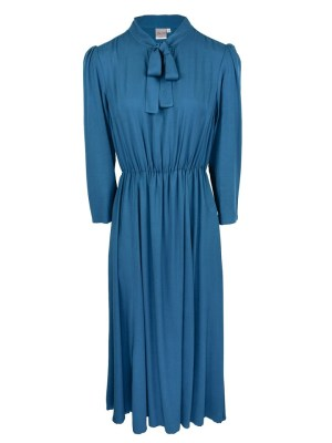 Blue Pussy-bow Maxi Dress