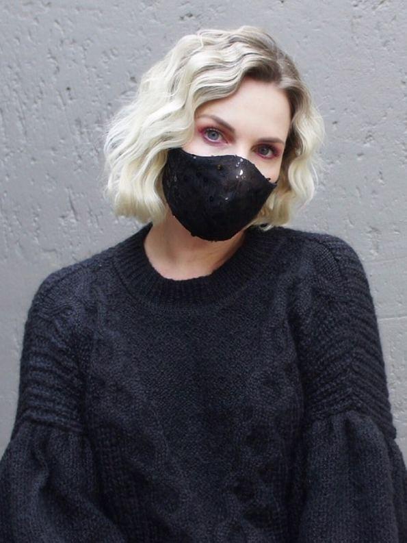 Equilibrio Bling Sequin Face Mask Black on Model