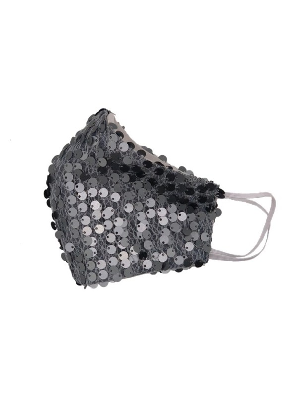 Equilibrio Glam Sequin Face Mask Silver Side