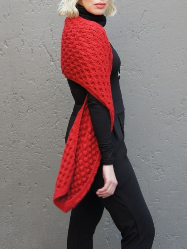 Erre Bubble Knit Scarf Red Side