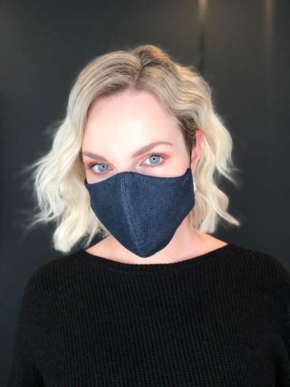 JMVB Face Mask Blue Denim Modeled