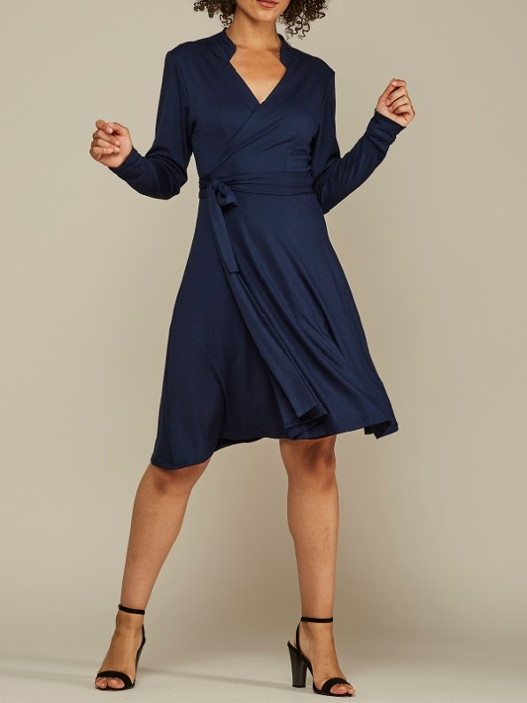 Mareth Colleen Henry Wrap Dress Navy Front