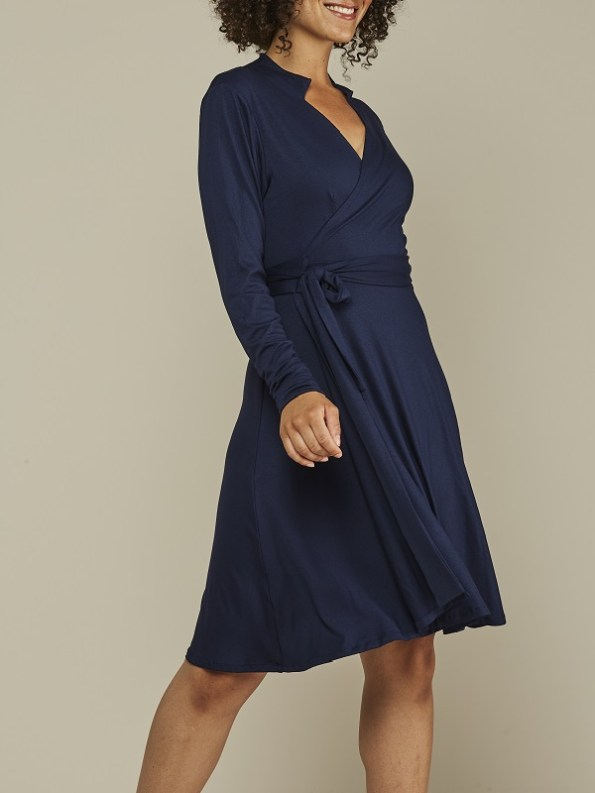 Mareth Colleen Henry Wrap Dress Navy Side