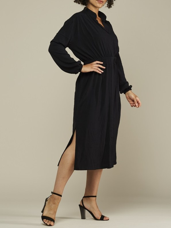 Mareth Colleen Isla Dress Black Side Slit