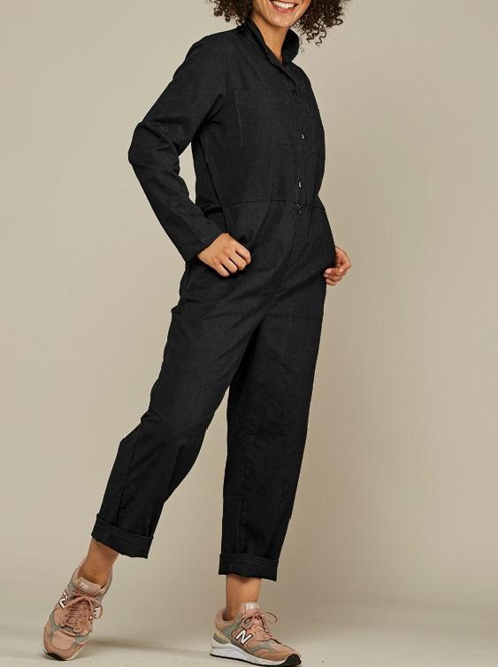Mareth Colleen Long Sleeve Boilersuit Black Side