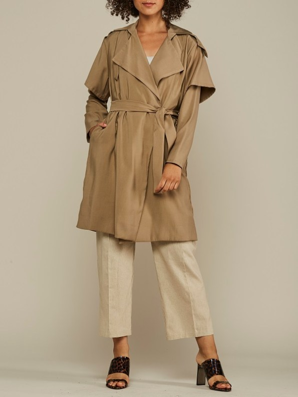 Mareth Colleen Trench Coat Camel Front