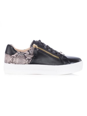 Black Sneakers with Pyhon print inset and zips