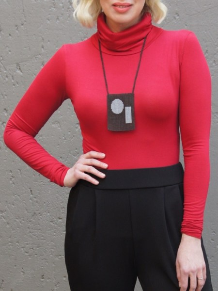 wine red polo neck top with brown beaded necklace Zulu Love Letter