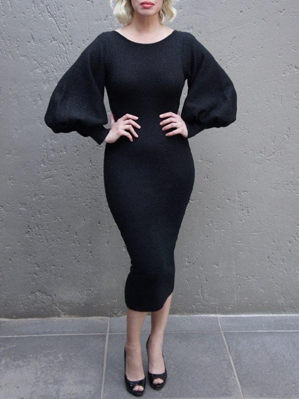 Erre Knitted Balloon Sleeve Dress Black Shimmer Mohair Blend Front 2