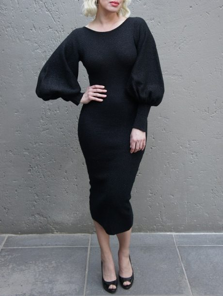 Black knitted Dress with Balloon sleeve and low back South Africa