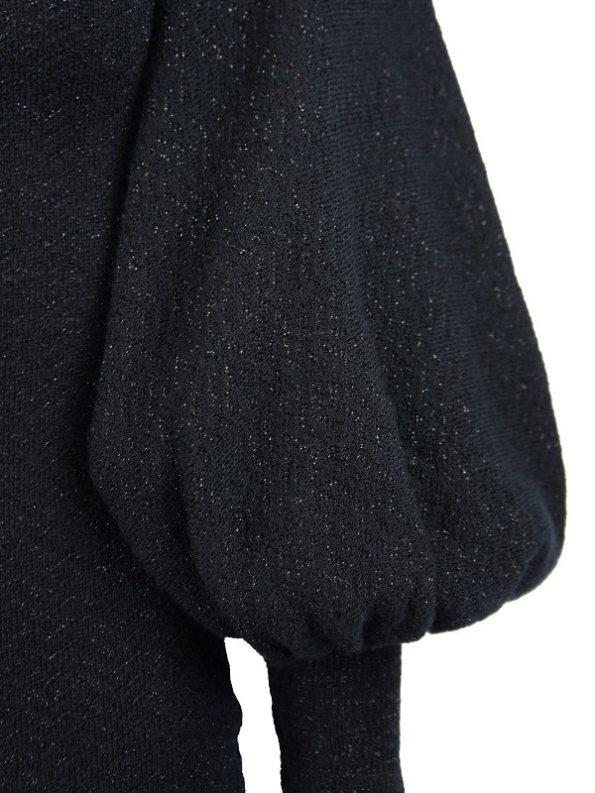 Erre Knitted Balloon Sleeve Dress Black Shimmer Mohair Blend Sleeve
