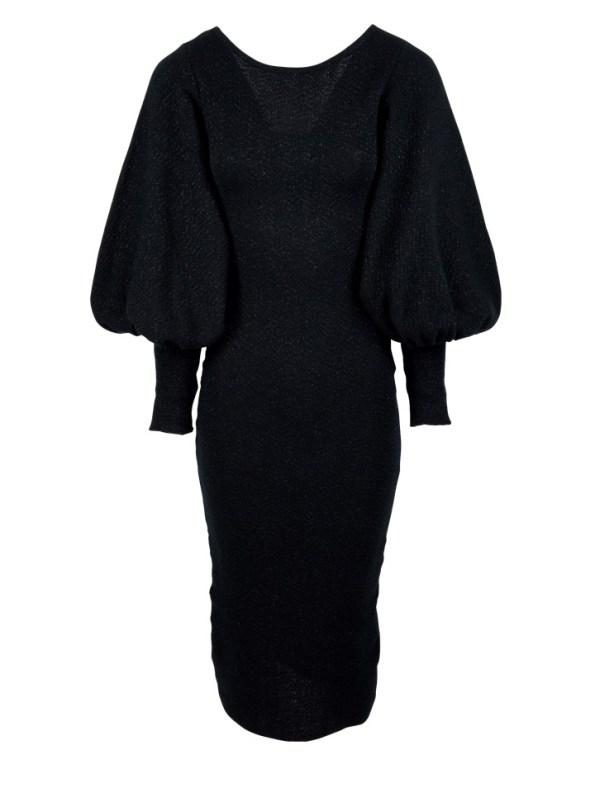Erre Knitted Balloon Sleeve Dress Black Shimmer Mohair Blend