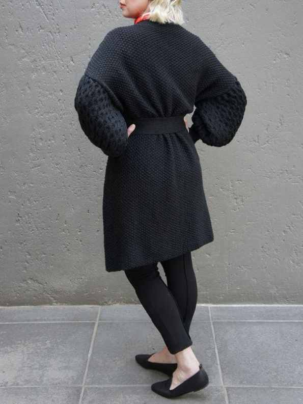Erre Knitted Coat Black Mohair Blend Back 2