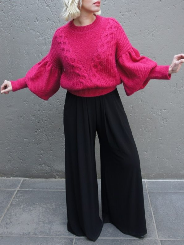 Erre Knitted Jersey Pink Mohair Blend Arms Out