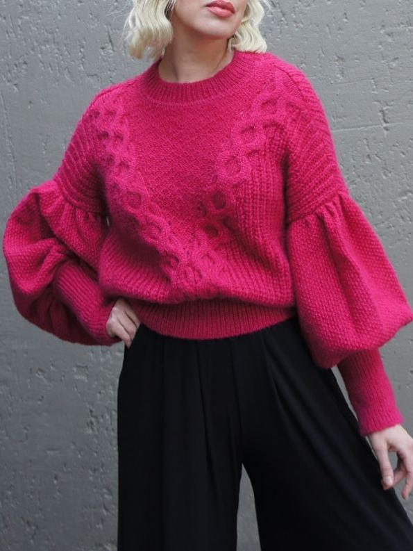 Erre Knitted Jersey Pink Mohair Blend Cropped