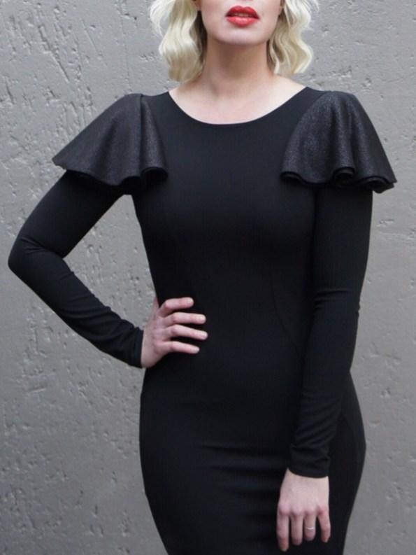 Erre Pencil Evening Dress Black Cropped