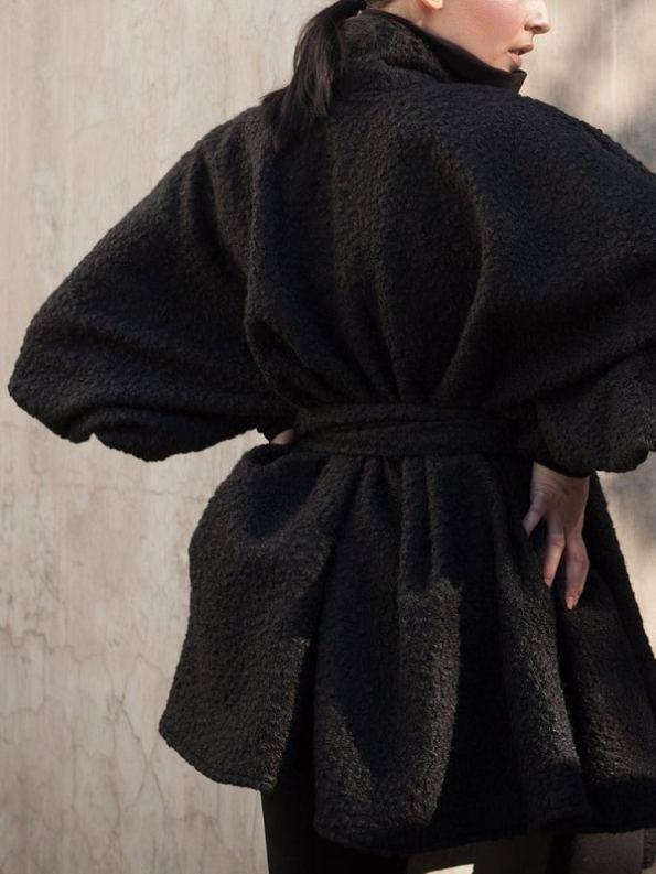 Erre Textured Swing Coat Black Hands Back