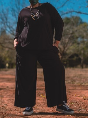Black Winter Plus Size Jumpsuit with long sleeves made in South Africa