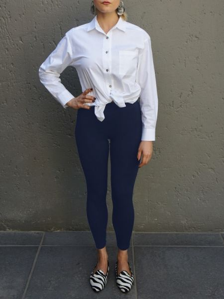 Navy high-waisted leggings South Africa